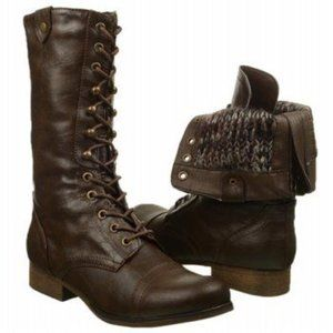 Madden Girl Brown Lace Up Gizmoo Combat Boots 6.5M